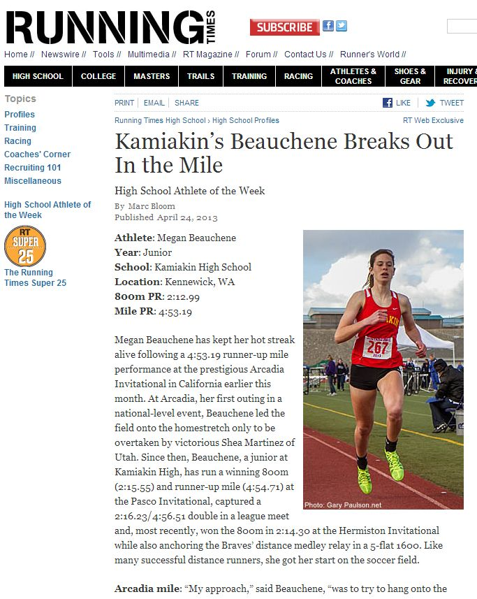 Kamiakin's Beauchene Breaks Out In the Mile - Running Times 04/23/2014